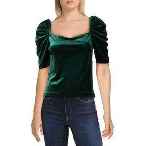 NWT Aqua  Emerald Green Velvet Puff Sleeve Top